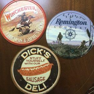 3 Metal Wall Plaques Remington, Winchester, Dicks